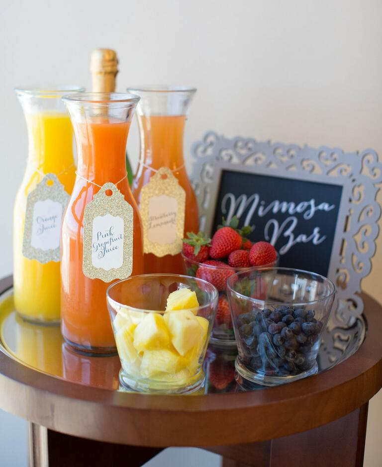 DIY mimosa bar for wedding day