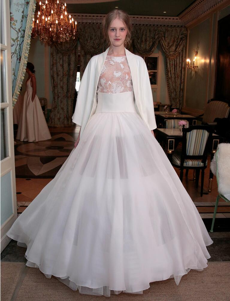 Delphine Manivet Spring 2017 sheer lamp shade ball gown wedding dress with floral embroidered illusion bodice
