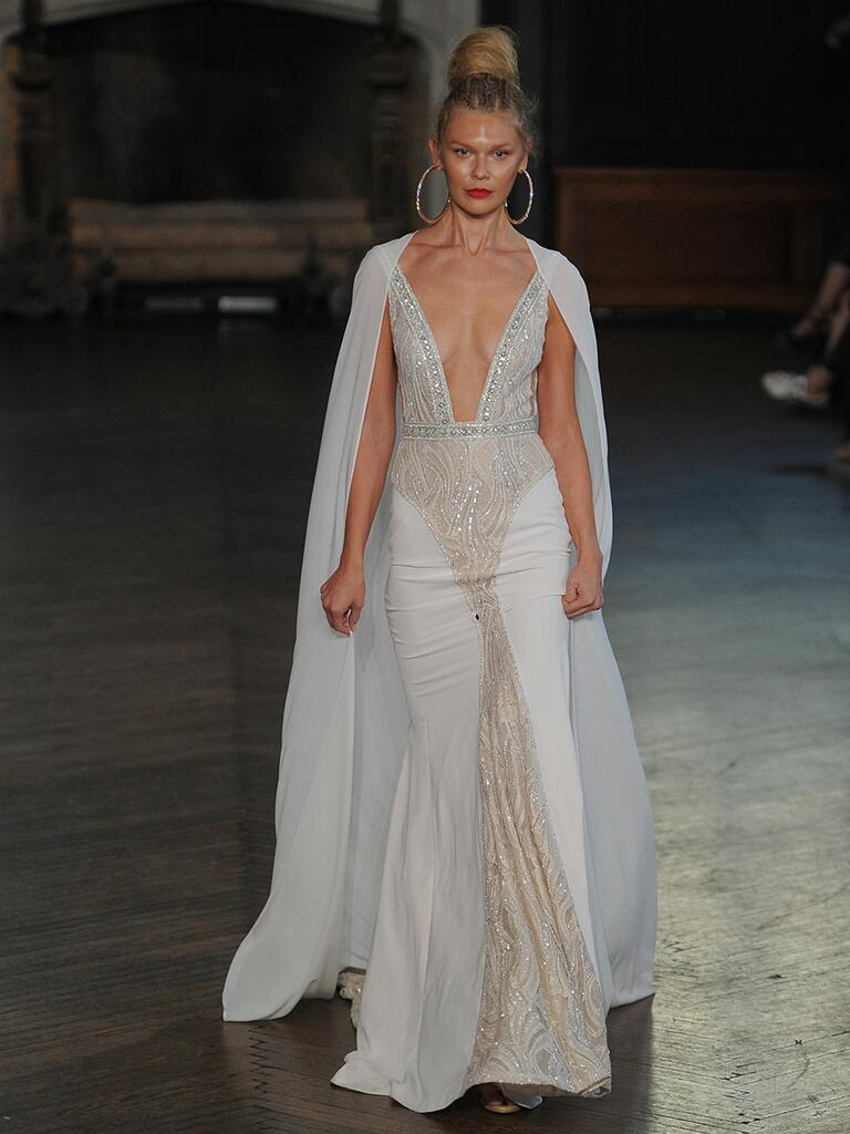 berta wedding dresses bridal fashion week fall berta wedding dresses Berta wedding gown with cape train and plunging neckline for Fall