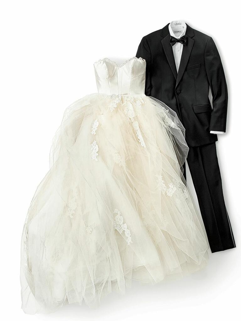 strapless ballgown and tuxedo