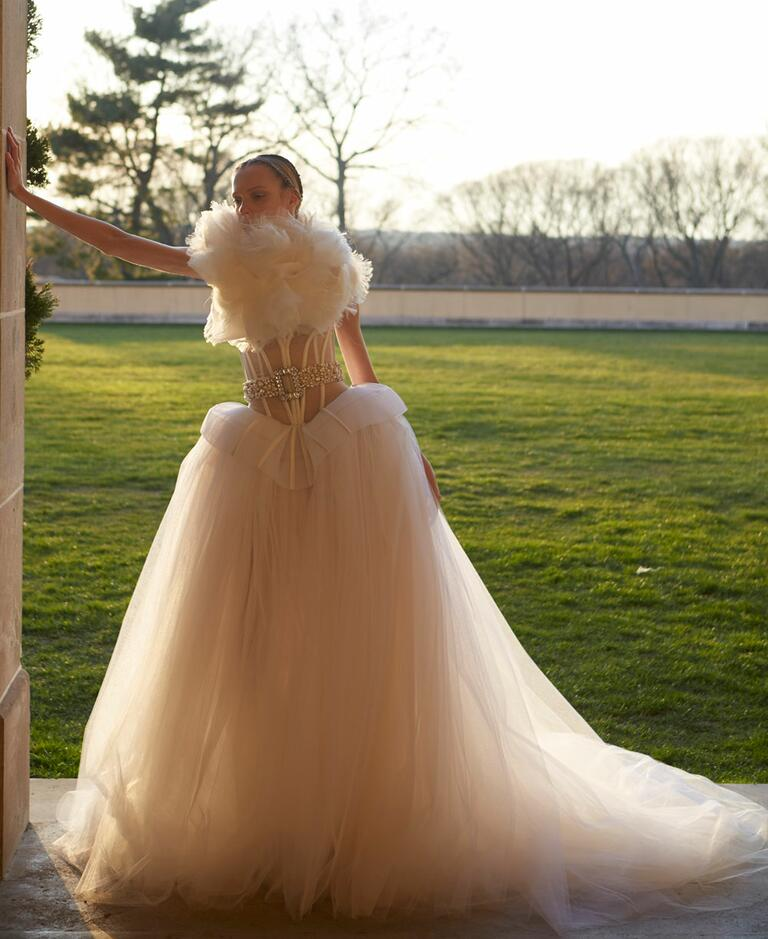 White by Vera Wang Spring 2017 sheer bodice wedding dress with full floating skirt