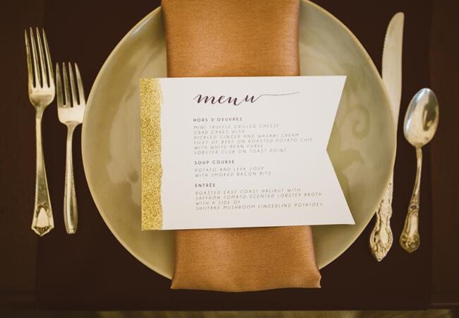 Gold Place Setting | Al Gawlik Photography | blog.TheKnot.com