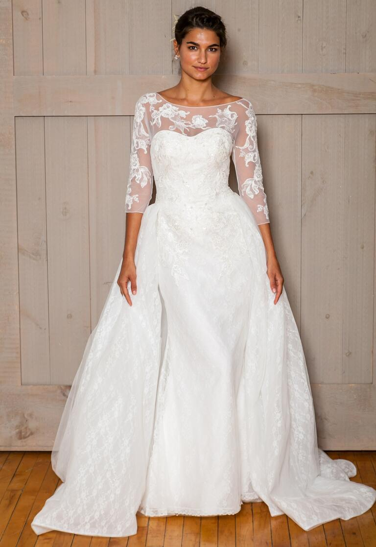 David's Bridal Fall 2016 3/4 mesh sleeve ball gown wedding dress with sweetheart neckline