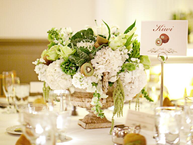 Kiwi and hydrangea centerpiece
