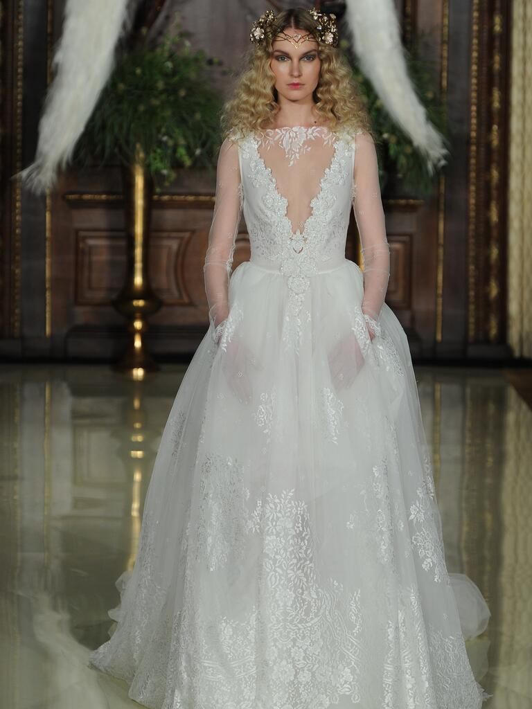 Galia Lahav sheer ball gown wedding dress with plunging illusion neckline and pockets from Spring 2016