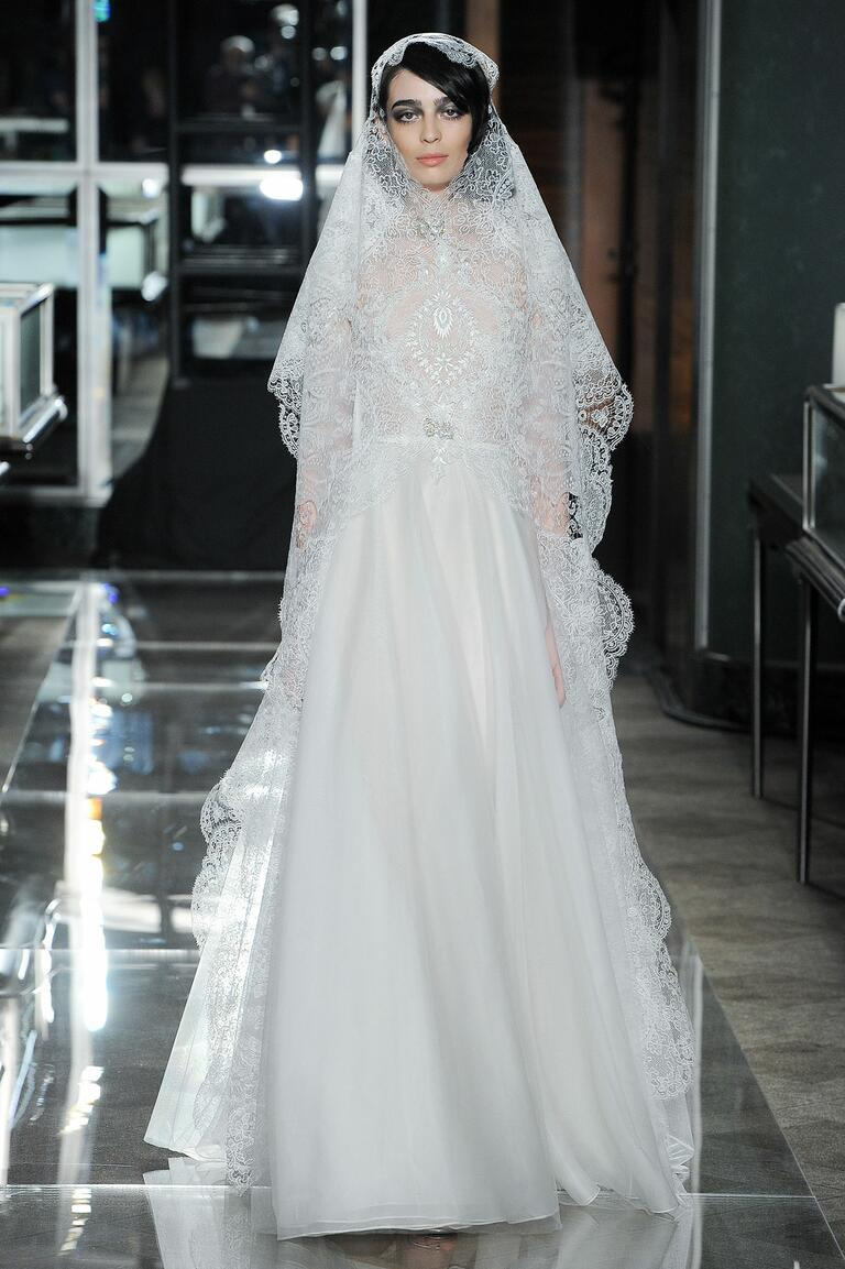 Reem Acra Spring 2018 lace wedding dress with matching lace veil
