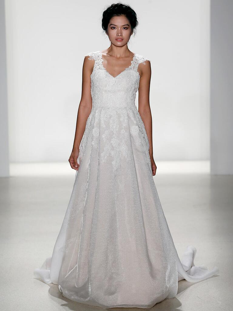 Kelly Faetanini Spring 2018 tulle A-line wedding dress with off-the-shoulder alencon lace neckline
