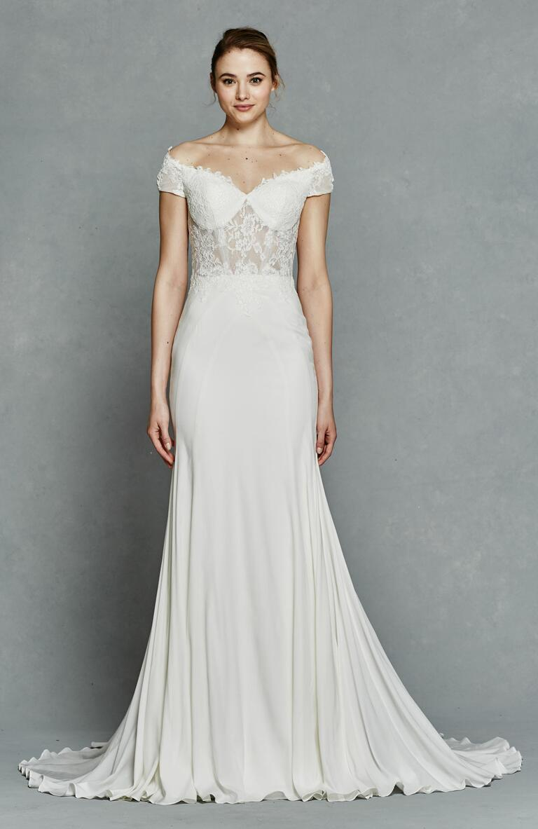 Kelly Faetanini Spring 2017 off-the-shoulder wedding dress with illusion lace bodice
