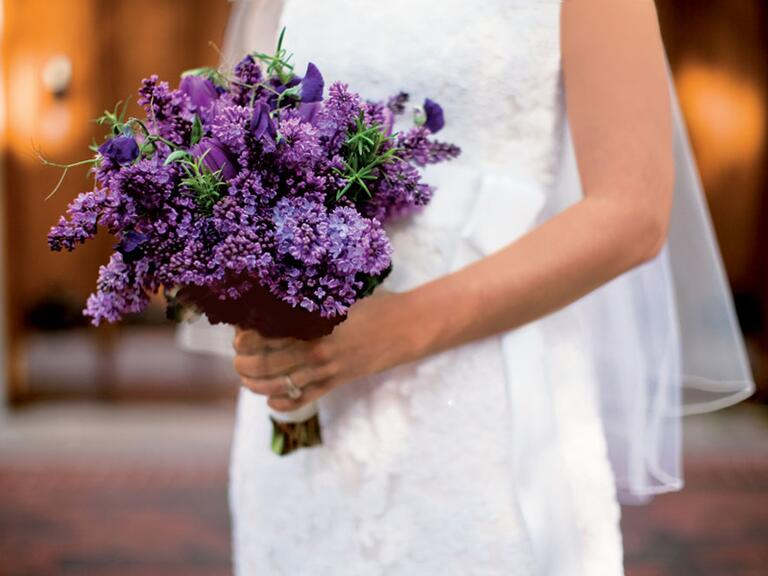 Purple lilac and tulip bridal bouquet