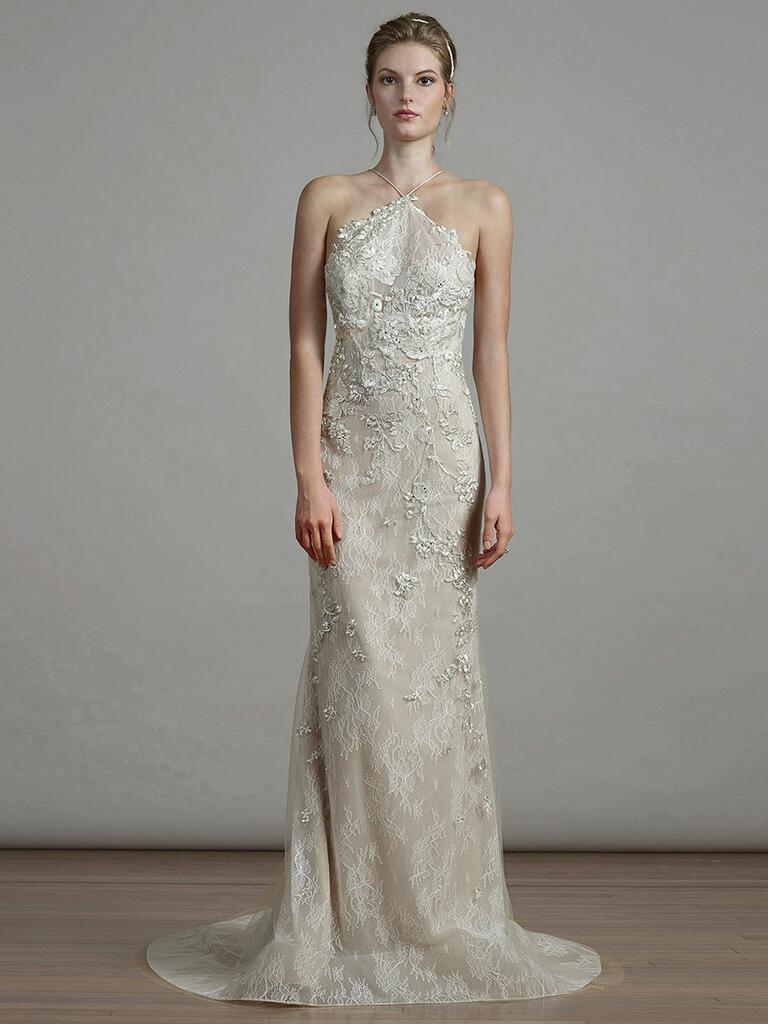 Liancarlo Spring 2018 champagne lace halter wedding dress