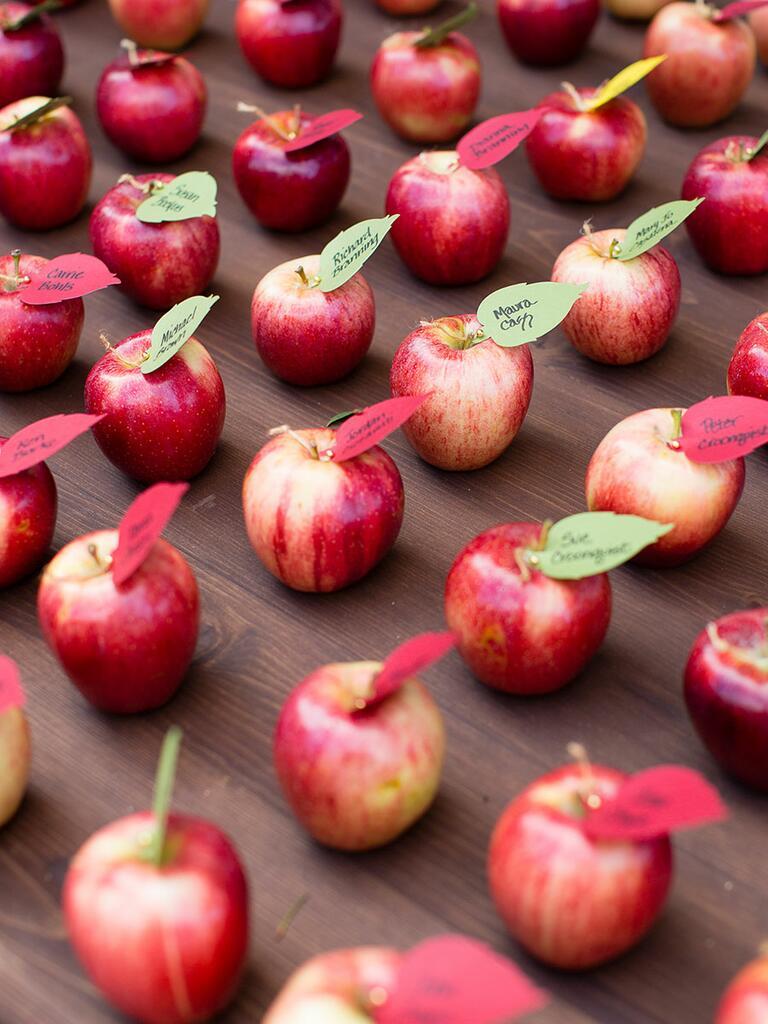 Apple escort card idea for a fun fall wedding