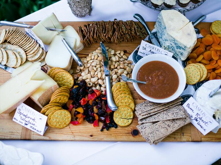 Fruit and cheese platter at wedding reception