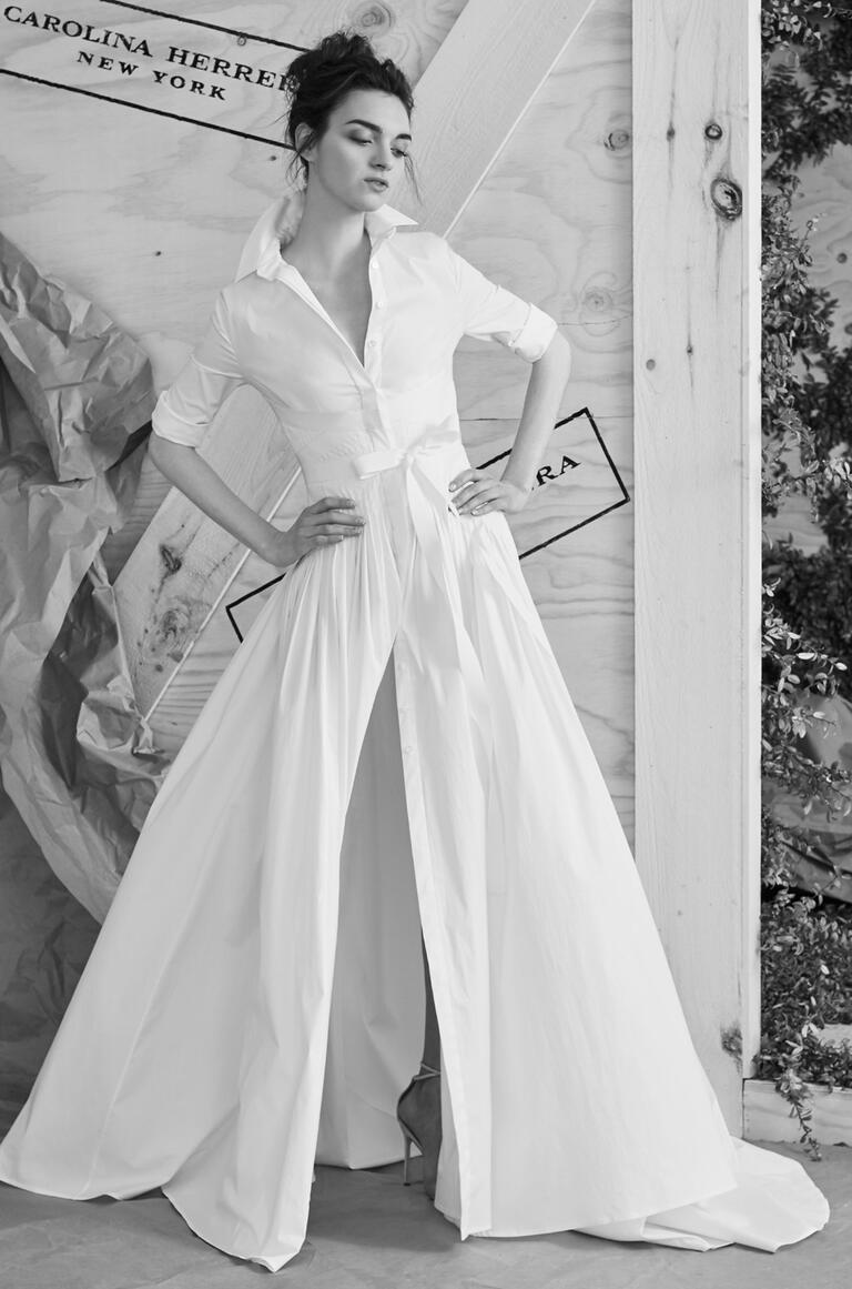 Carolina herrera spring 2017 collection bridal fashion for Shirt dress wedding gown