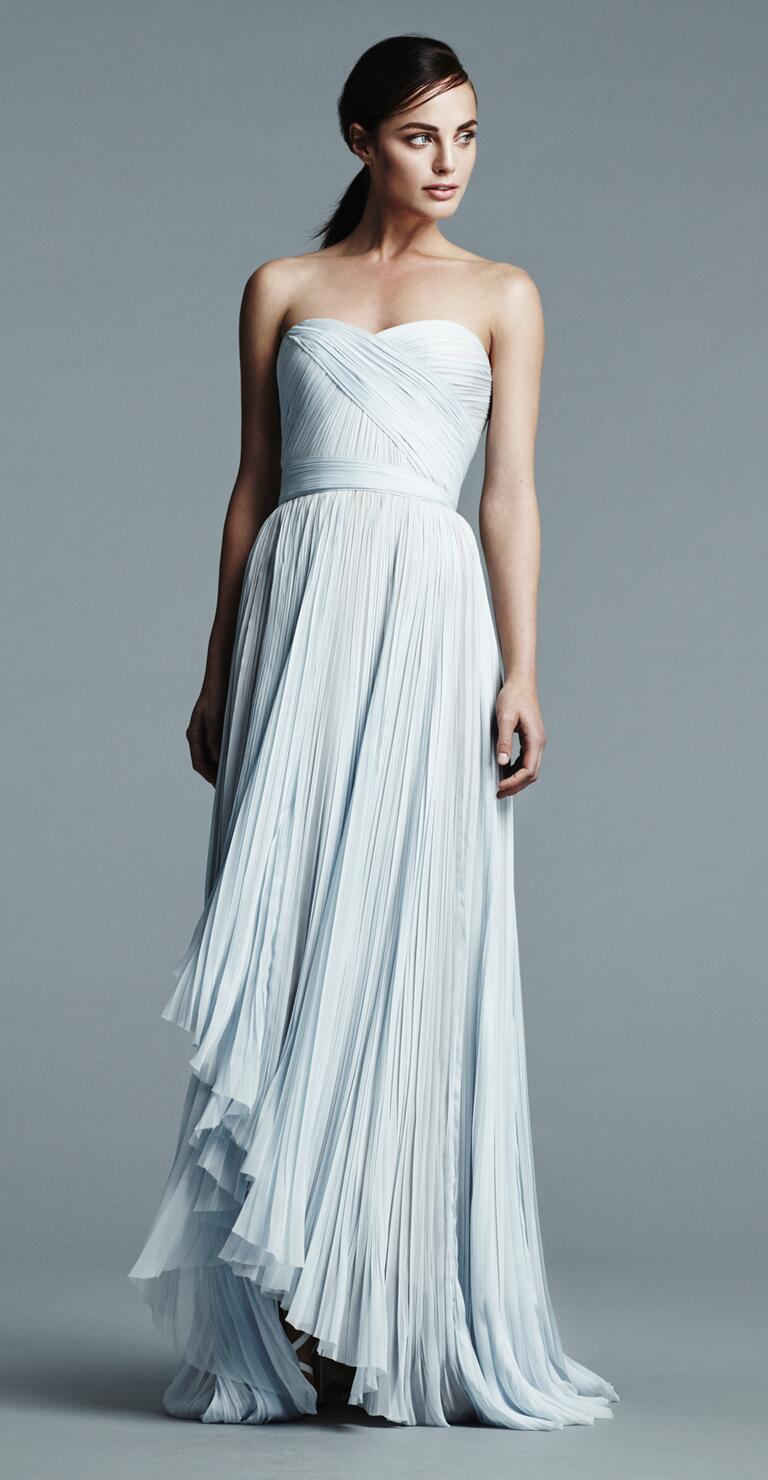 j mendel wedding dresses bridal fashion week spring j mendel wedding dress J Mendel strapless pale blue wedding gown with pleated bodice and wrap skirt Spring