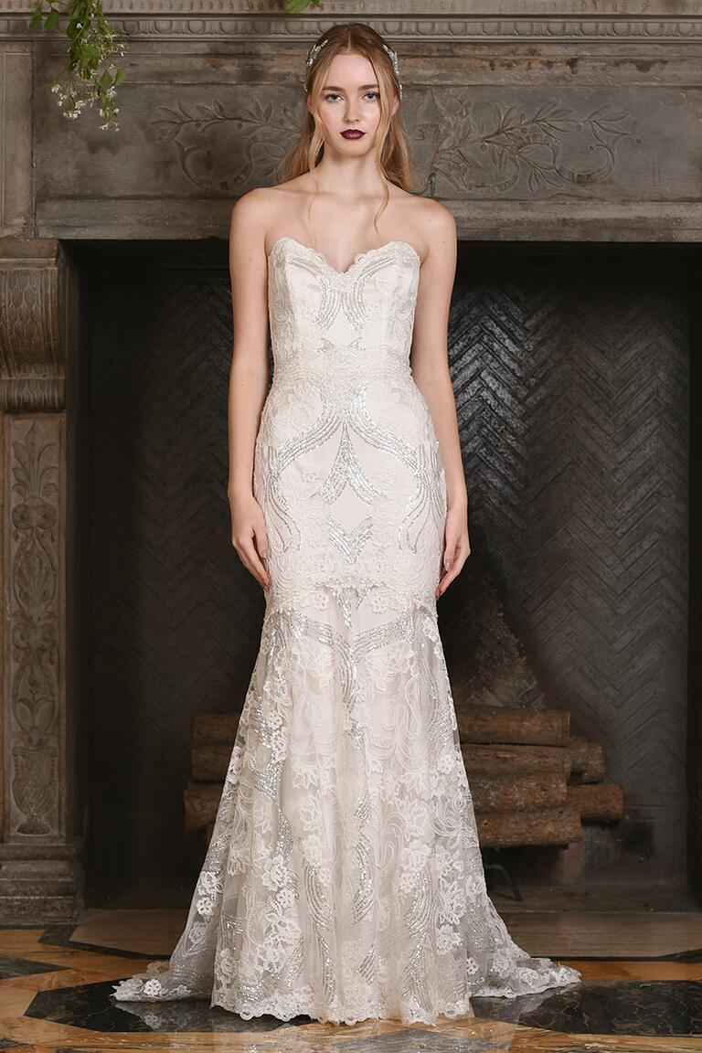 Claire Pettibone strapless wedding gown with sweetheart neckline and fitted bodice for Fall 2017