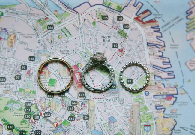 wedding rings on boston map | Lime Green Photography | blog.theknot.com