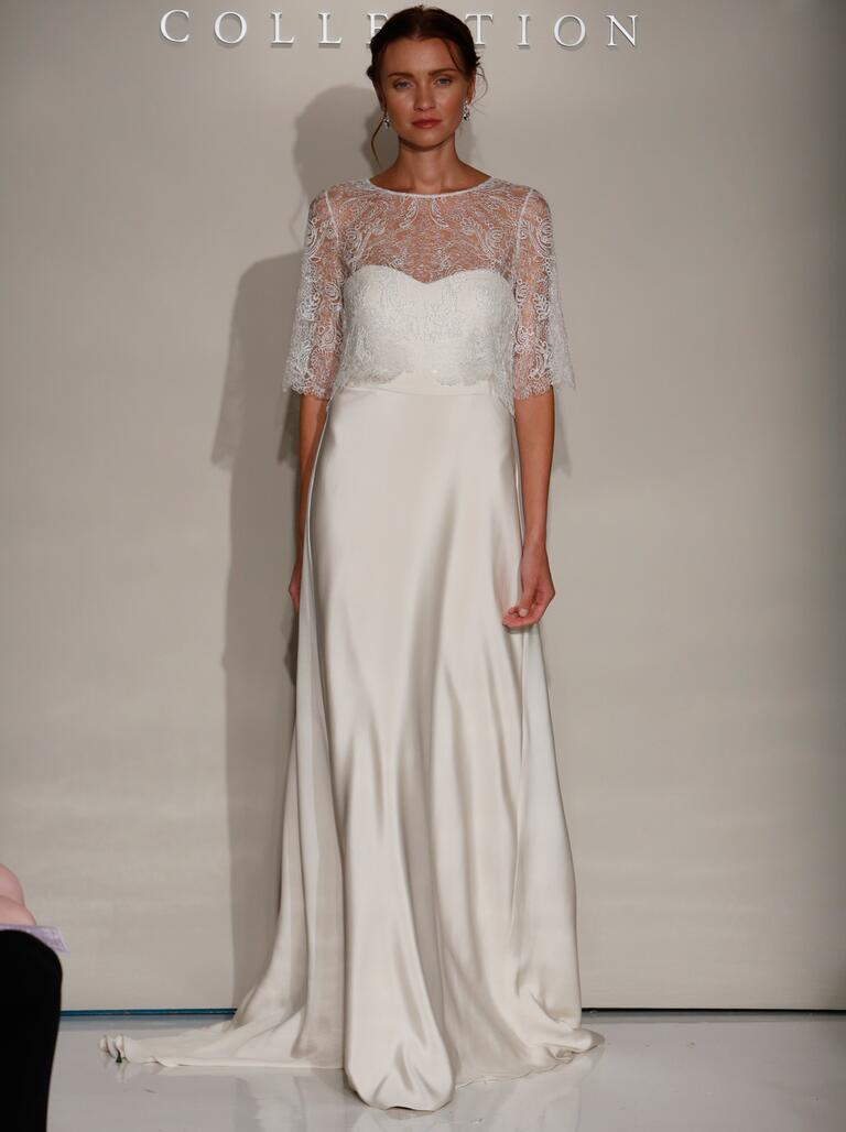 Jenny Yoo Fall 2016 wedding dress with sheer lace coverlet over sweetheart neckline simple sheath dress