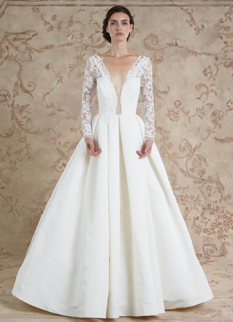 sareh nouri wedding dresses bridal fashion week fall plunging neckline wedding dress Sareh Nouri Fall ball gown wedding dress with plunging neckline and long lace sleeves