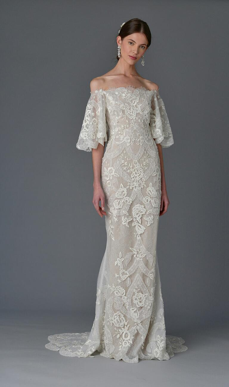 Marchesa Spring 2017 off-shoulder sheath wedding dress with lace floral art deco detail