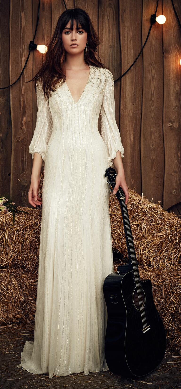 Jenny Packham Spring 2017 Lara wedding dress with three-quarter-length sleeves, plunging v-shaped neckline and gemstone and sequin accents for a hint of shimmer
