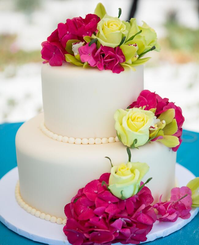 Simple Cake with Vibrant Flowers | Vallentyne Photography | blog.TheKnot.com
