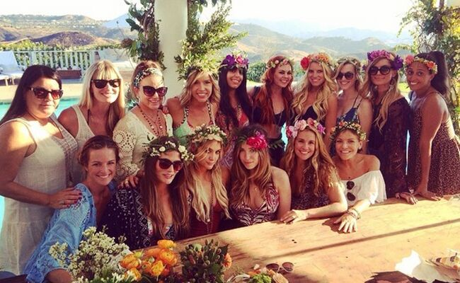 We Love Ashlee Simpson s Bachelorette Party Flower Crowns (and Embarrassing  Cake!) e9bc85f0b8c