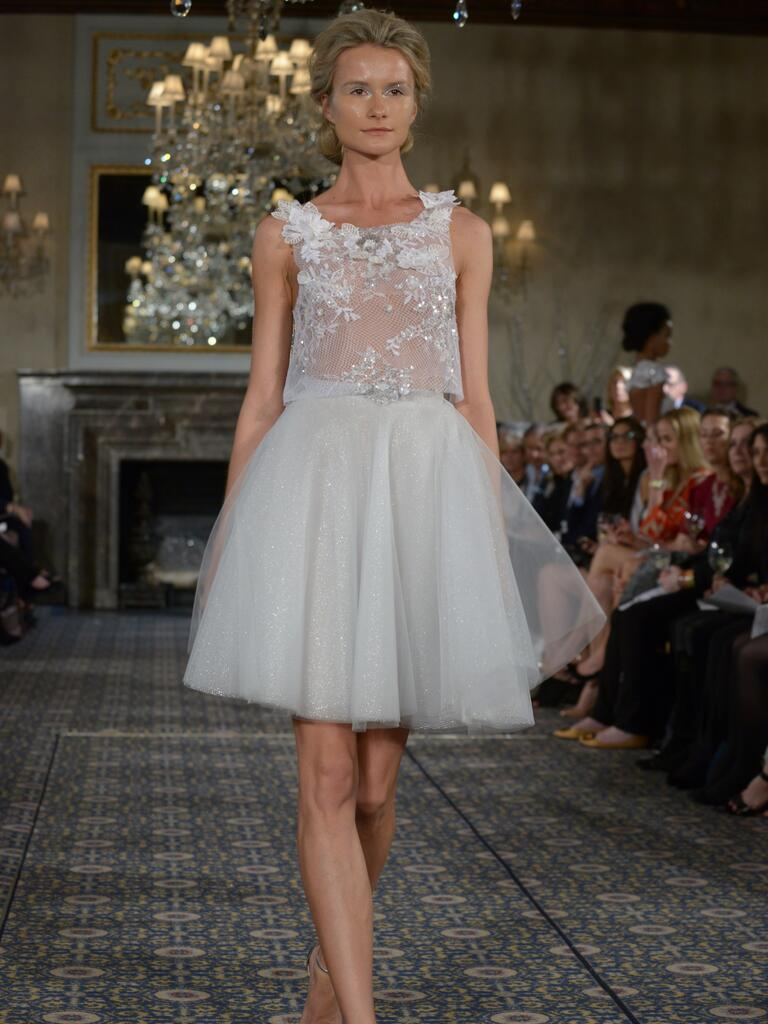 ... dress with lace and beaded top and silver tulle skirt from Spring 2016