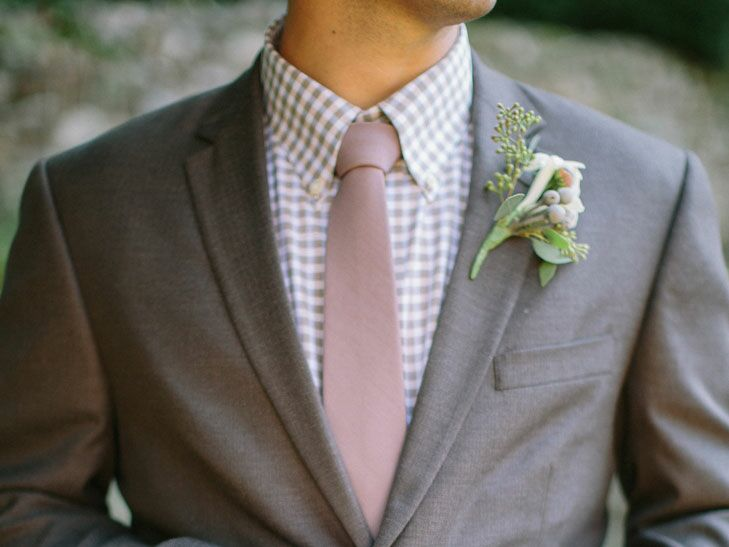 7e01f9824 Man in a gray suit with a purple gingham shirt and a pale pink tie