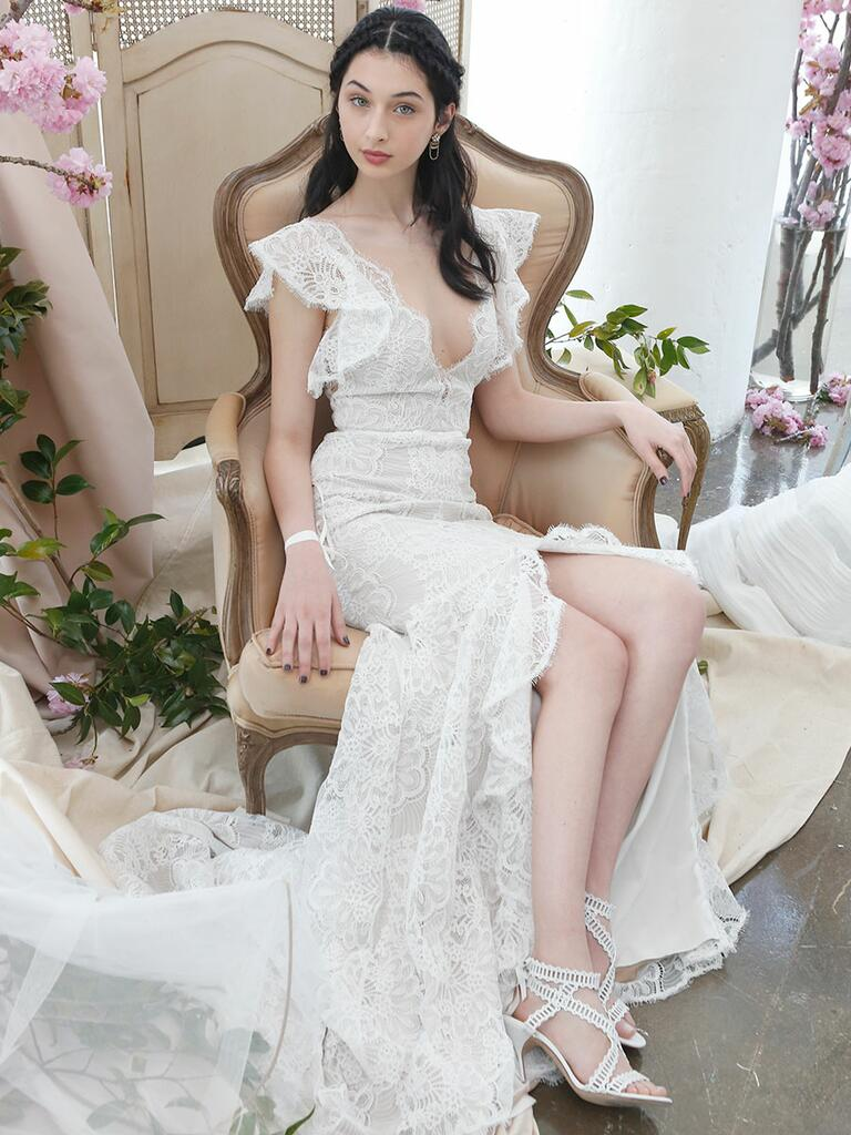 Marchesa Notte Bridal Spring 2018 lace wedding gown with cap sleeves and plunging neckline