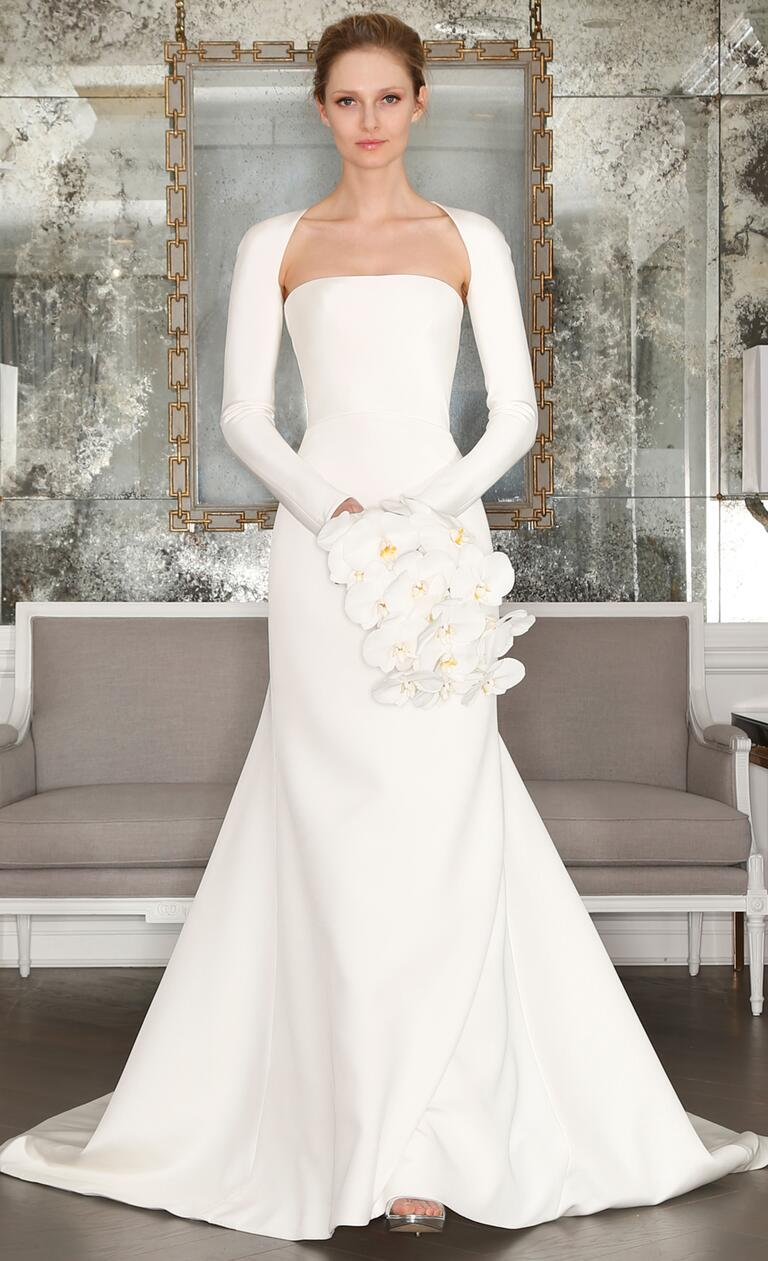 Strapless column gown with small jacket wedding dress from Romona Keveza's Spring 2017 collection