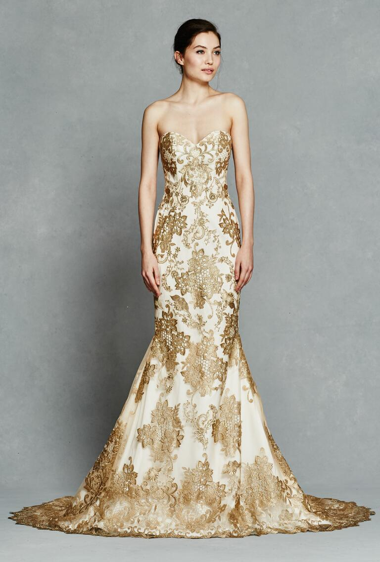 Kelly Faetanini Spring 2017 strapless wedding dress with gold embroidery
