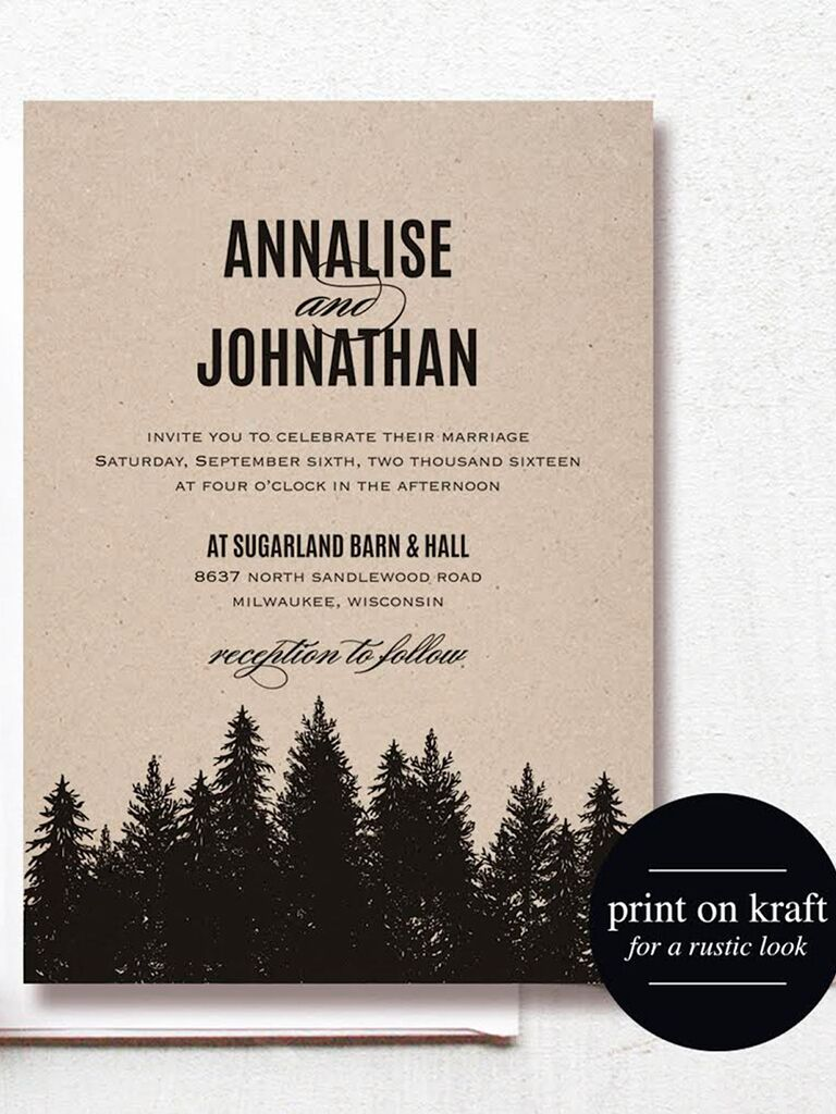 Rustic Forest Wedding Invitation Printable