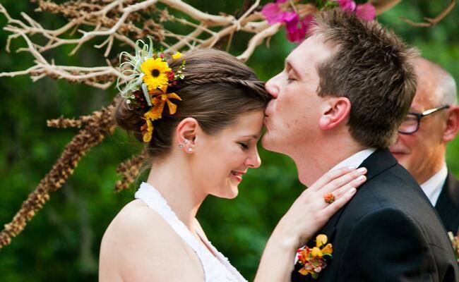 Floral Bun Bridal Updo