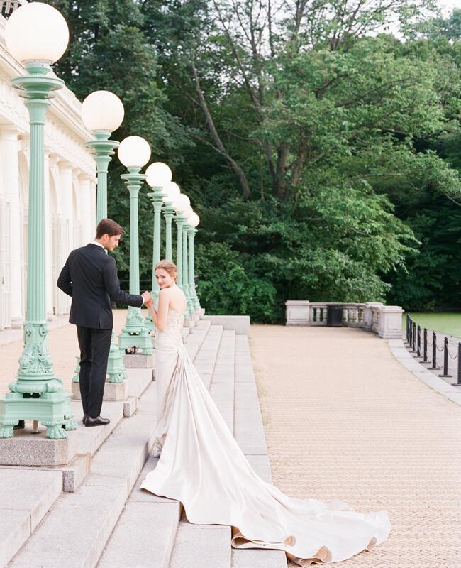 Mark Zunino wedding dress and Banana Republic groom's suit | Corbin Gurkin | blog.theknot.com