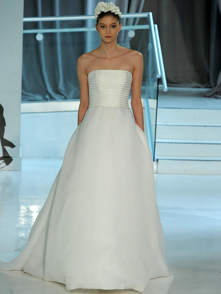 Peter Langner Spring 2018 strapless A-line wedding dress with horizontal bodice detail