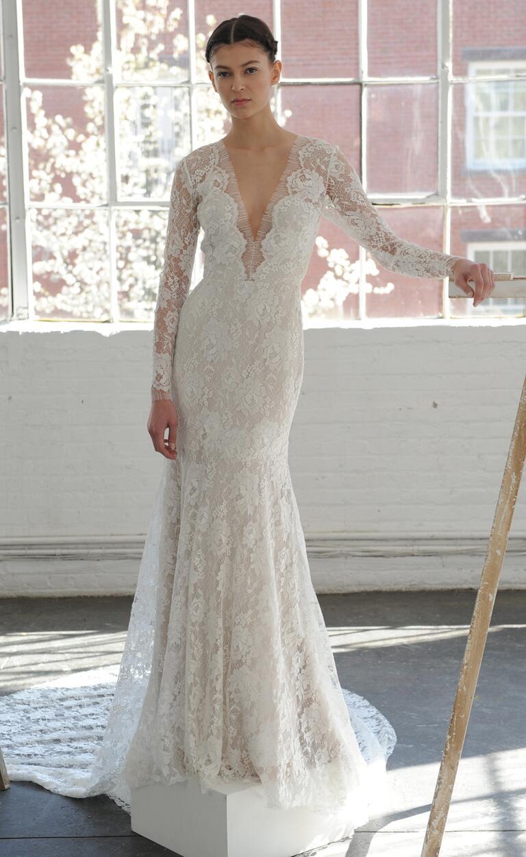 plunging neckline lace long sleeved wedding dress from lela rose spring 2017