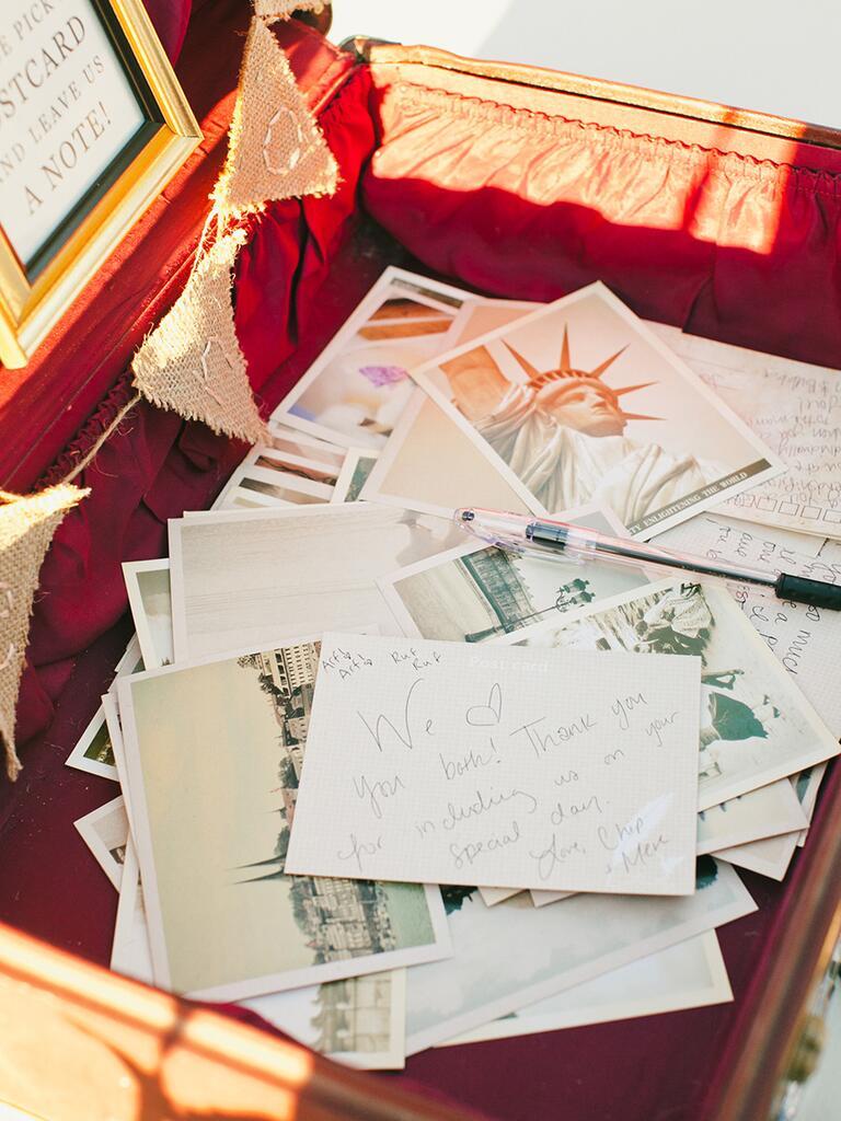 Post card guest book for a creative wedding idea