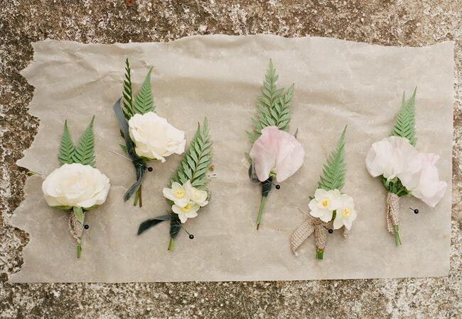 Rose and fern boutonnieres by Flowerwild | Jose Villa | blog.theknot.com