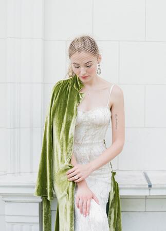 Myra Callan Bridal green velvet robe | Corbin Gurkin | blog.theknot.com