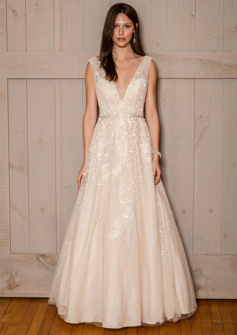 David's Bridal Fall 2016 champagne v-neck wedding dress with beading