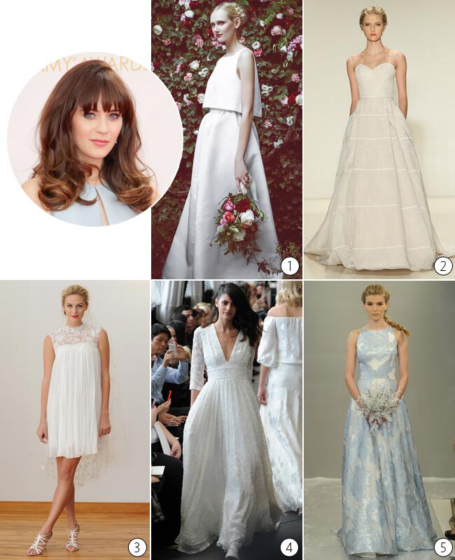 zooey deschanel wedding dress predictions