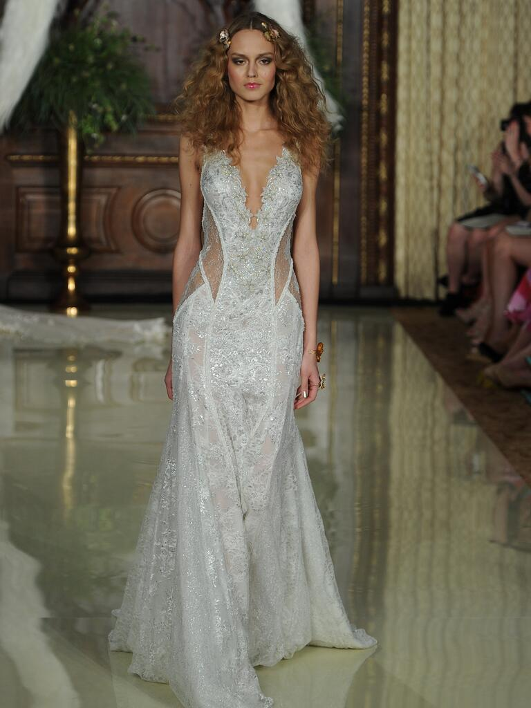 Galia Lahav embroidered lace sheer waistband wedding dress from Spring 2016