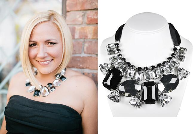 Black Gem Statement Necklace |<img class=