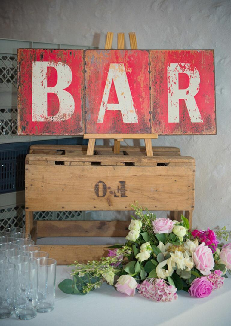 Vintage B-A-R sign from antique letters