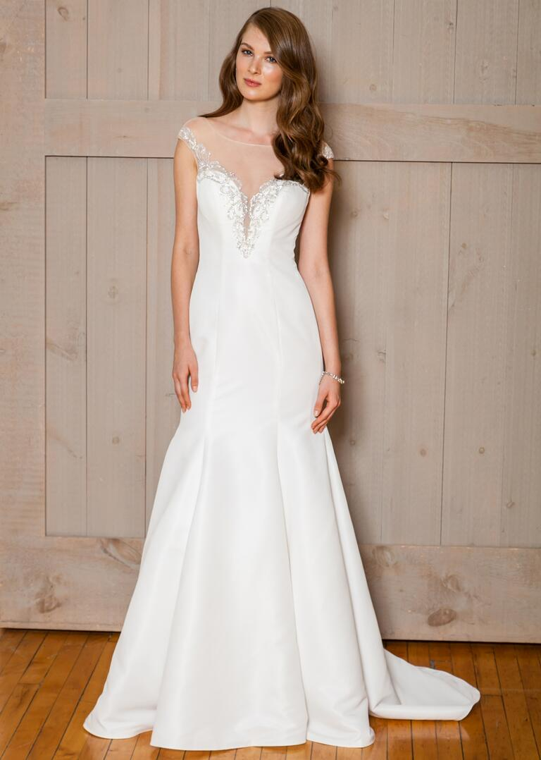 David's Bridal Fall 2016 satin trumpet wedding dress with mesh cap sleeves and beading