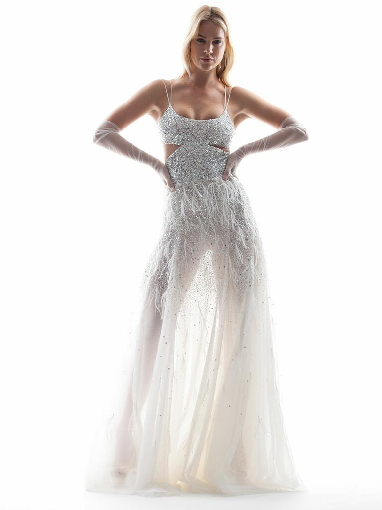 Houghton Spring/Summer 2018 sheer spaghetti strap wedding dress with beads and feathers
