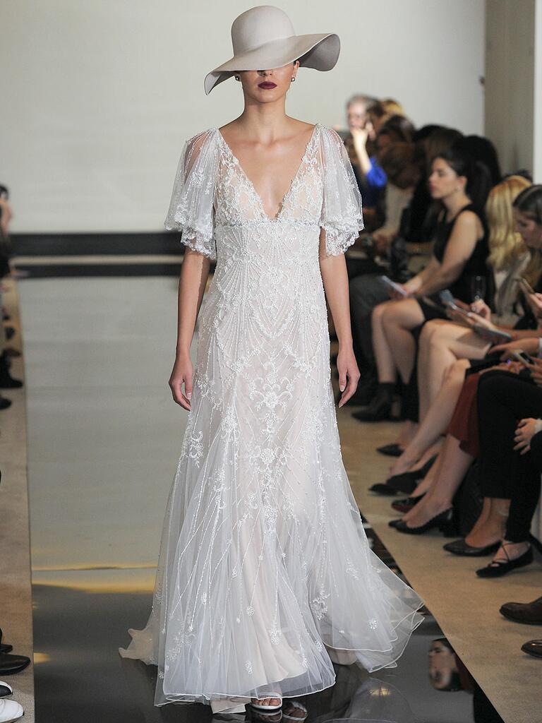 Justin Alexander Spring 2018 beaded tulle A-line wedding dress with illusion flutter sleeves
