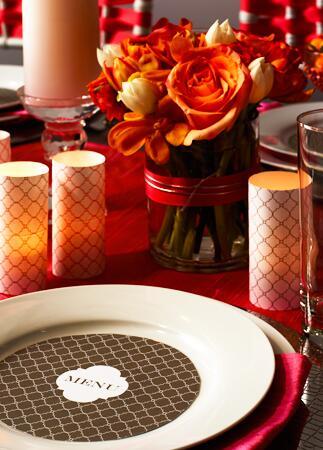 Craft paper votive candleholder place setting| David Prince | blog.theknot.com