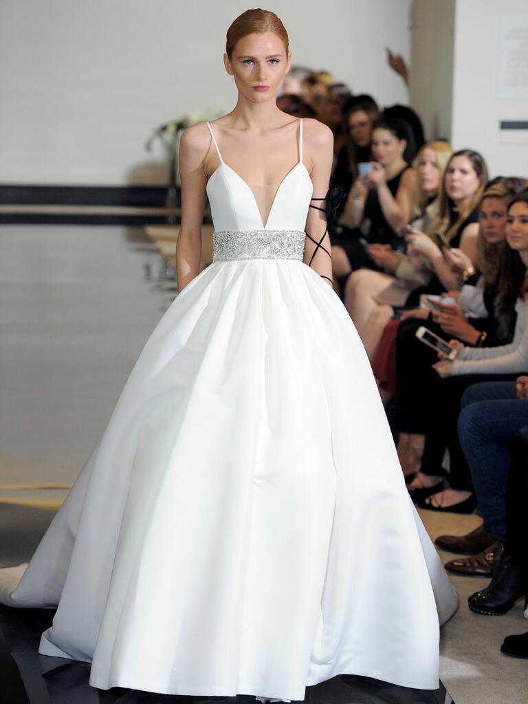 Justin Alexander Spring 2018 pleated ball gown with beaded waistband