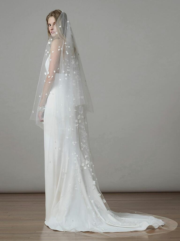 Liancarlo Spring 2018 crepe column wedding dress with appliqué veil